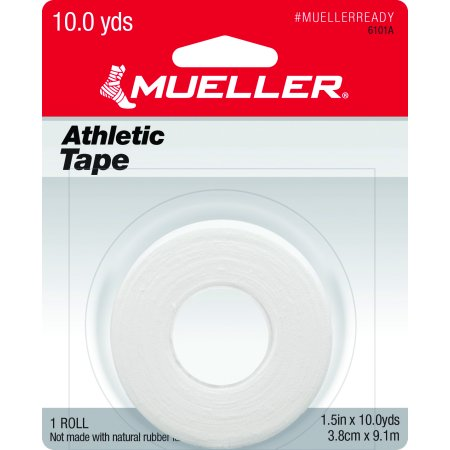 """Mueller Athletic Tape, White, 1.5"""" x 10 yd, Single Roll"""