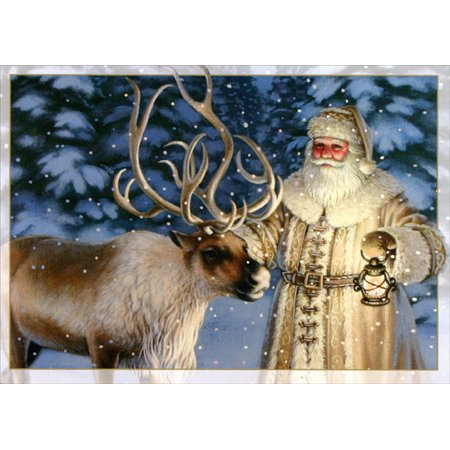 LPG Greetings Old Fashioned Santa with Reindeer Box of 16 Christmas Cards ()