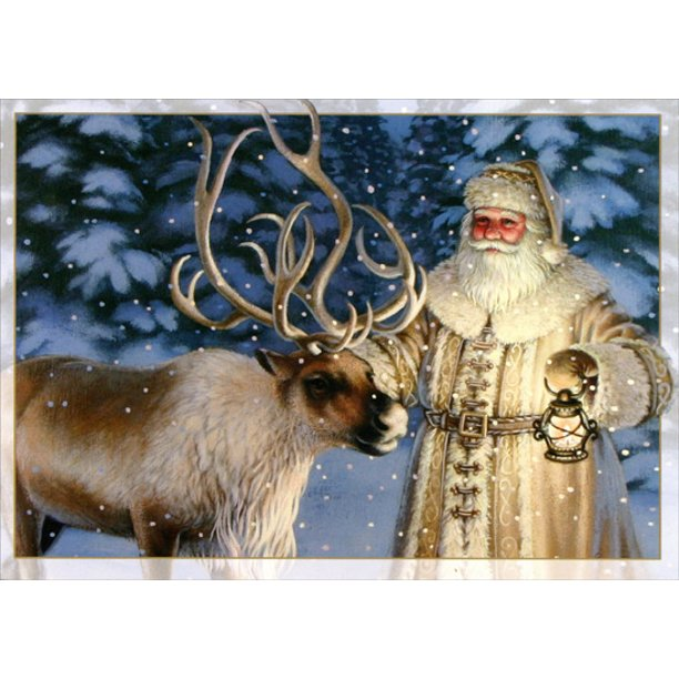 Lpg Greetings Old Fashioned Santa With Reindeer Box Of 16 Christmas Cards Walmart Com Walmart Com