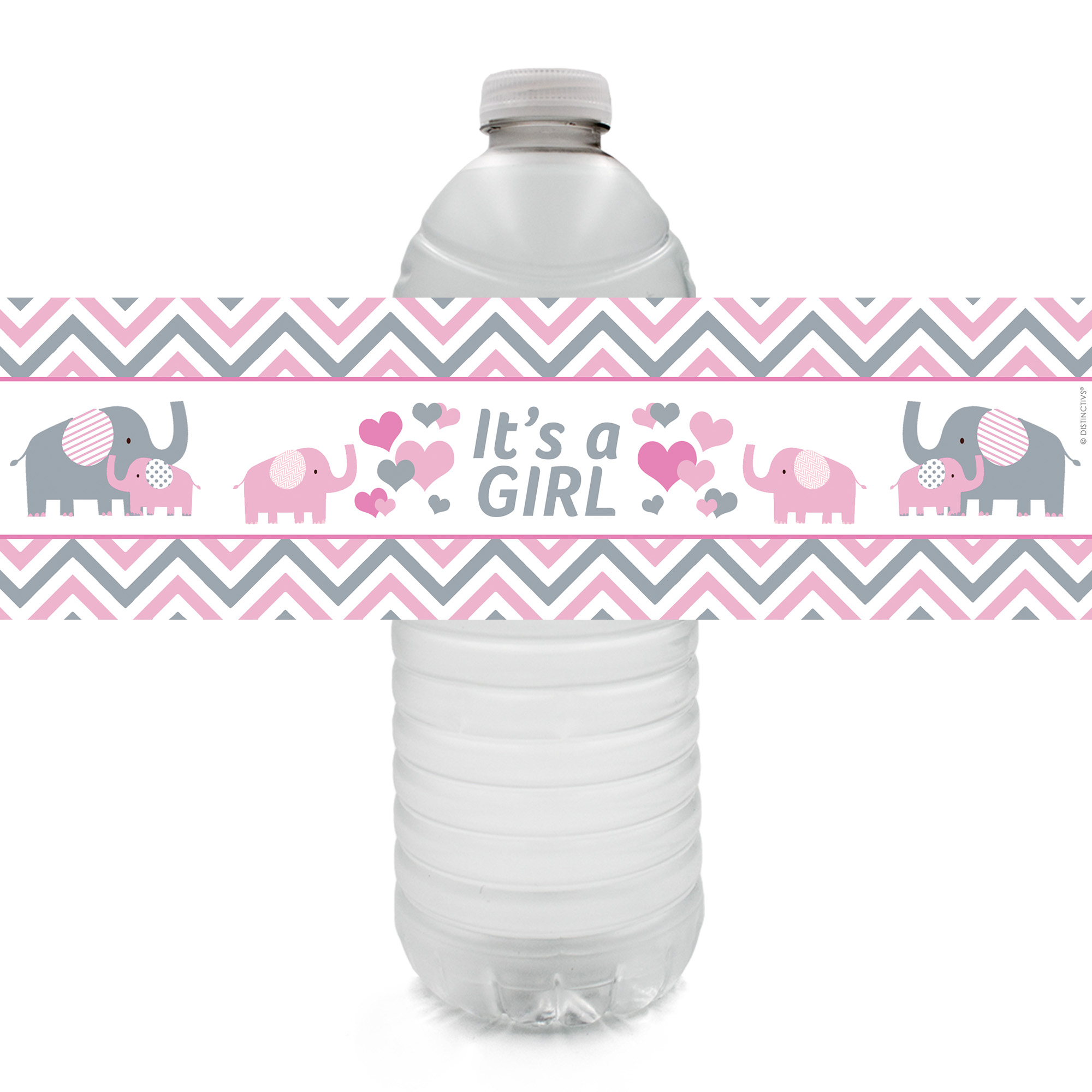Pink Elephant Baby Shower Water Bottle Labels 20 Count