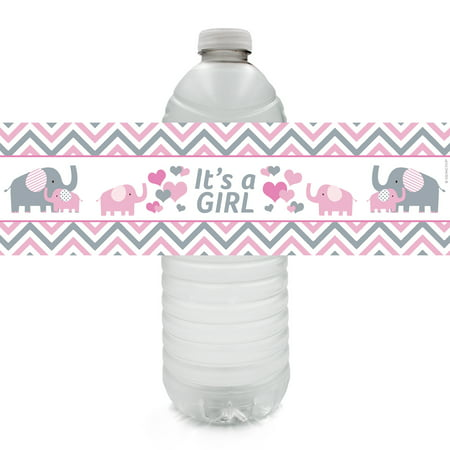 Pink Elephant Baby Shower Water Bottle Labels, 20 Count