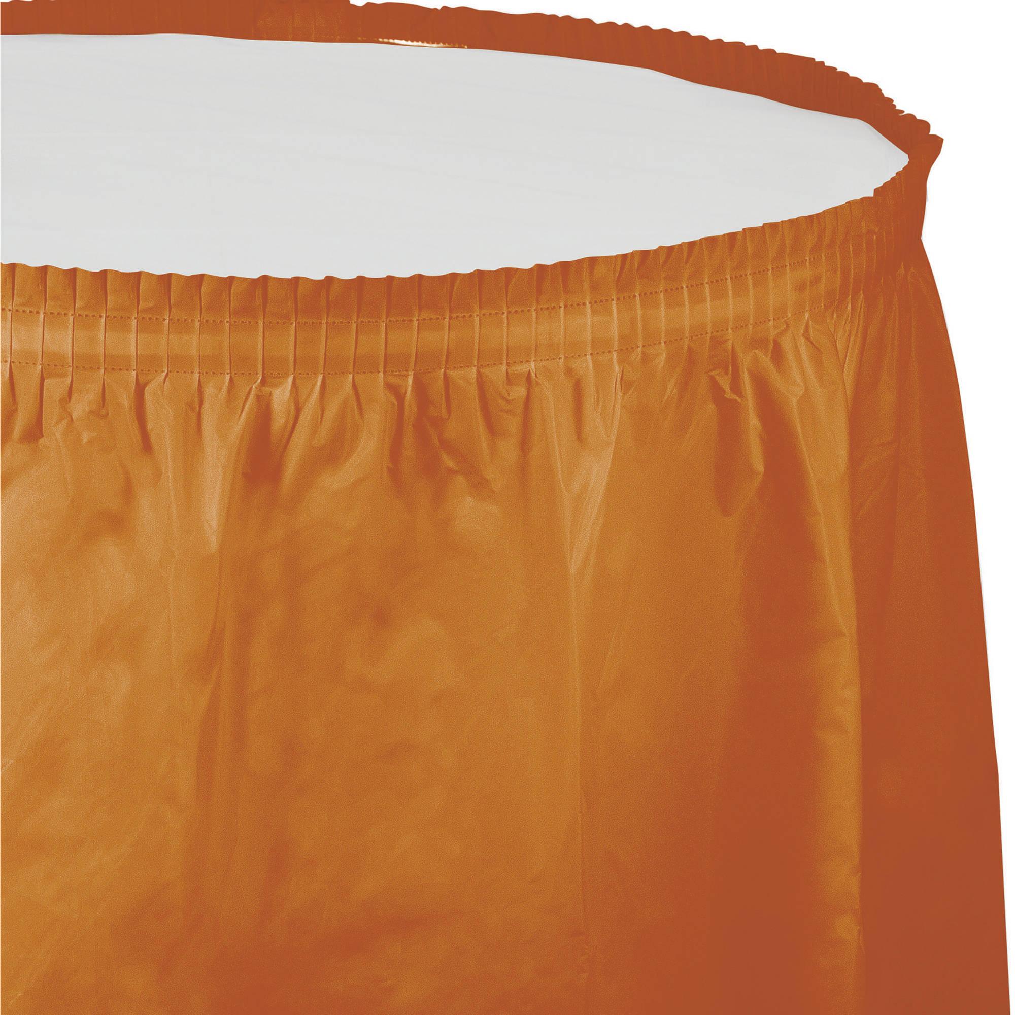 Pumpkin Spice Orange Plastic Tableskirt, each