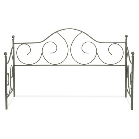 Caroline Metal Daybed Frame with Gently Sloping Back and Side Panels, Flint Finish, Twin ()