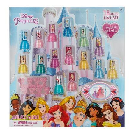 ($15 value) Disney Princess Nail Polish Gift Set Sparkle, Peel-Off, 18 pc (Polish Pottery Miniature Tea Set)