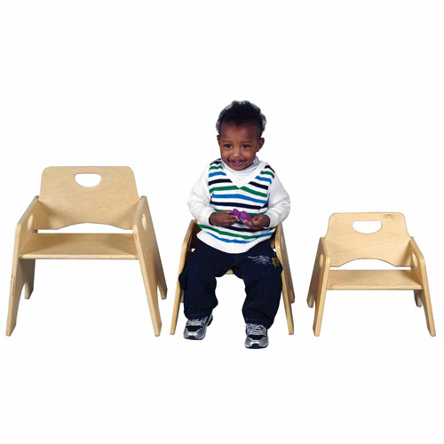 "ECR4Kids 10"" Stackable Wooden Toddler Chair - 2PK"