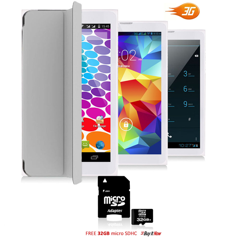 "Indigi® 7.0"" HD Unlocked 3G (2-in-1)Android 4.4 SmartPhone & TabletPC  w/ Built-in Smart Cover + 32gb microSD (Grey)"