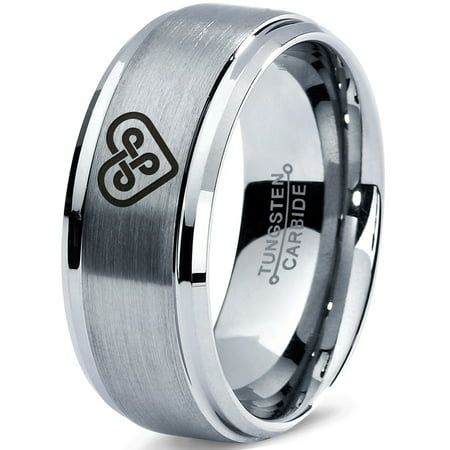 Tungsten Keltic Celtic Knot Heart Shape Band Ring 8mm Men Women Comfort Fit Gray Step Bevel Edge Brushed Polished