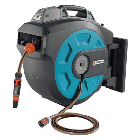 Gardena Comfort 115 Foot Wall Mounted Motorized Automatic Rechargeable Hose  Box