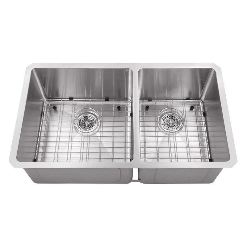 Undermount Stainless Steel 30x17x10 in. 0-Hole Double Bowl Kitchen Sink