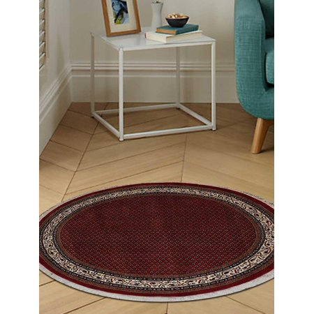 - Rugsotic Carpets Hand Knotted Persian Wool 6'x6' Round Area Rug Oriental Red Cream PR0013