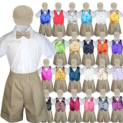 3df5ba072c1f Baby Boys Toddler Formal Vest Shorts Suit Color Vest 5pc Khaki Bow ...