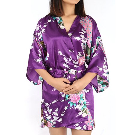 Hippie Print Robe (Women's Silk Satin Peacock & Blossoms Printed L/XL/XXL Short Kimono Robes Sexy Bathrobe For Wedding Party)