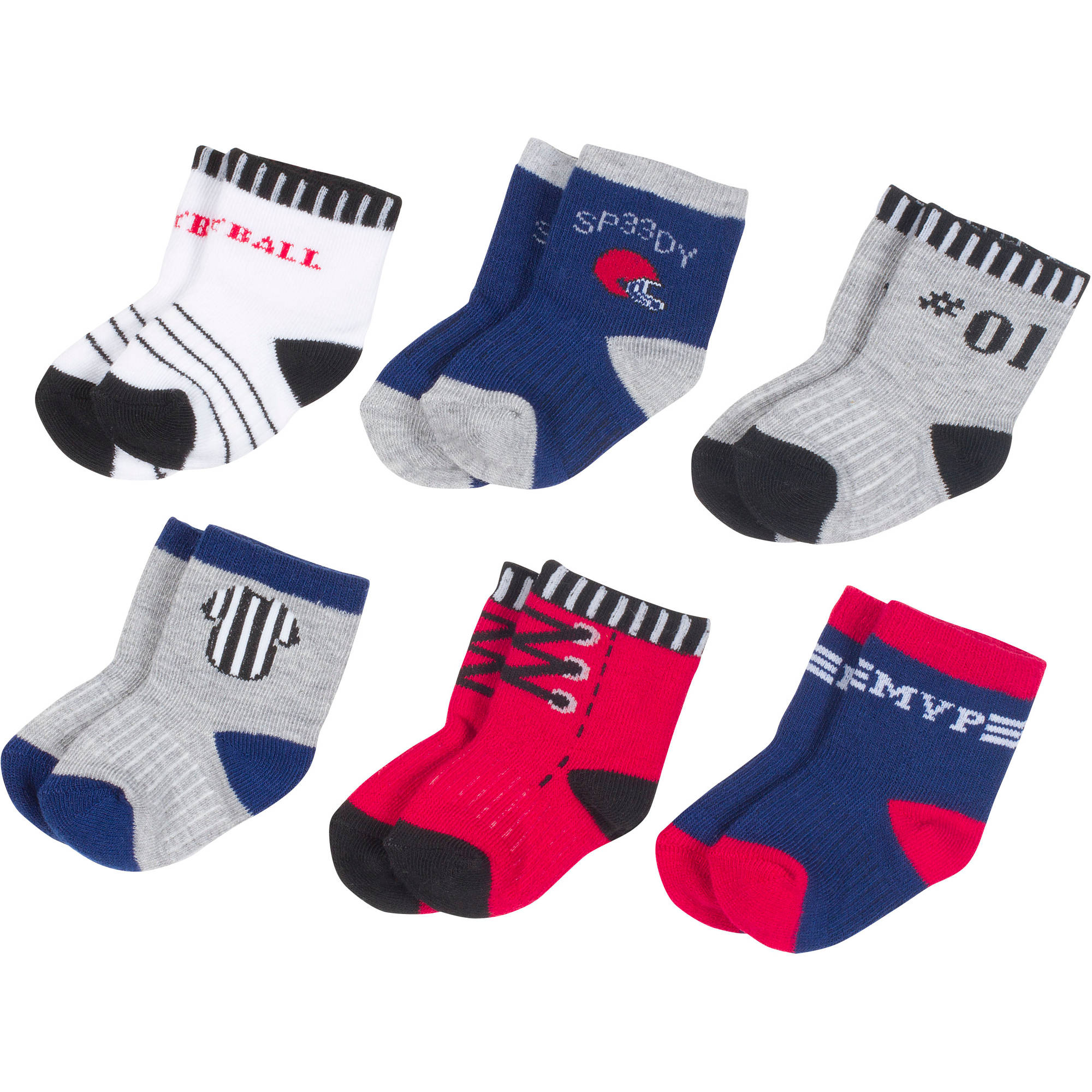 Growing Socks by Peds, Boy Infant, Play Ball, 6 Pairs