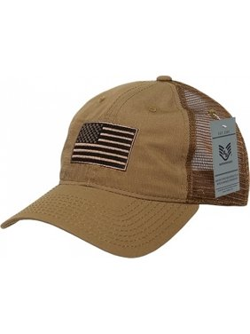 RapDom USA Flag Ripstop Mens Trucker Cap [Coyote Brown - Adjustable]
