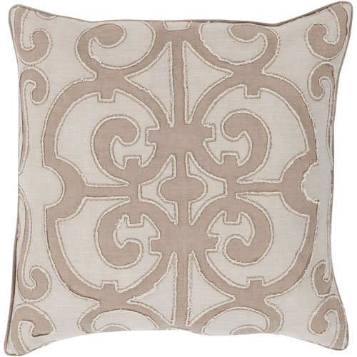 Linden Taupe and Ivory 18-Inch Pillow with Poly Fill