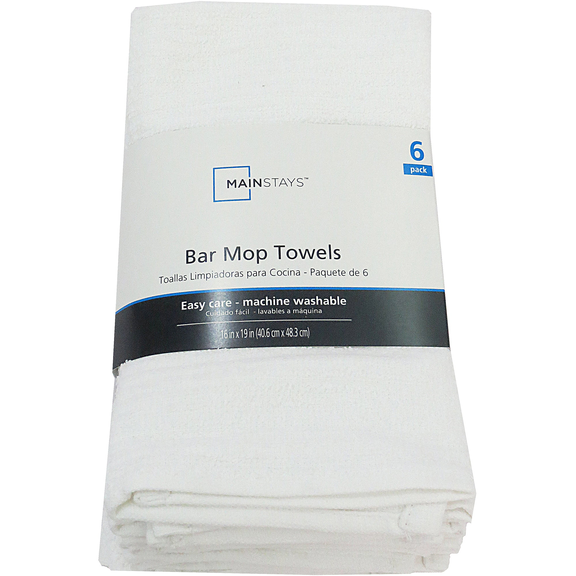Mainstays 6 Pack Barmop Kitchen Towel White by CROWN MILLS (BD) LIMITED