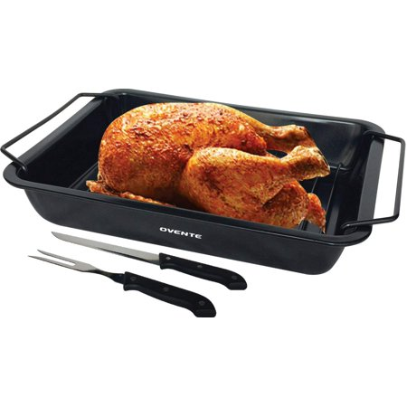 Ovente Non-Stick Roasting Pan with Carving Set, Carbon Steel, 12 x 9 inches, Contemporary, Black (3 Piece Roast Carving)