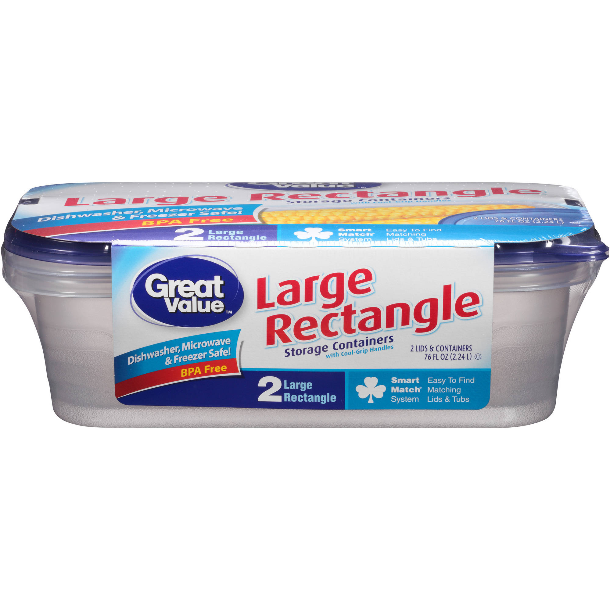 Great Value Large Rectangle Storage Containers, 76 fl oz, 2 count