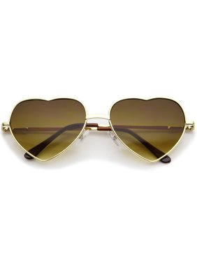 7a7bf9827586 Product Image Small Thin Metal Frame Temples Colored Gradient Lens Heart  Sunglasses 52mm (Gold   Amber)