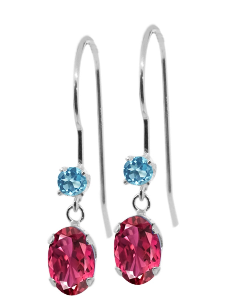 1.16 Ct Oval Pink Tourmaline Swiss Blue Simulated Topaz 14K White Gold Earrings by