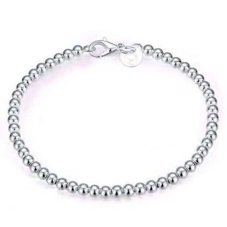 - ON SALE - Delicate Beads Sterling Silver Bracelet silver
