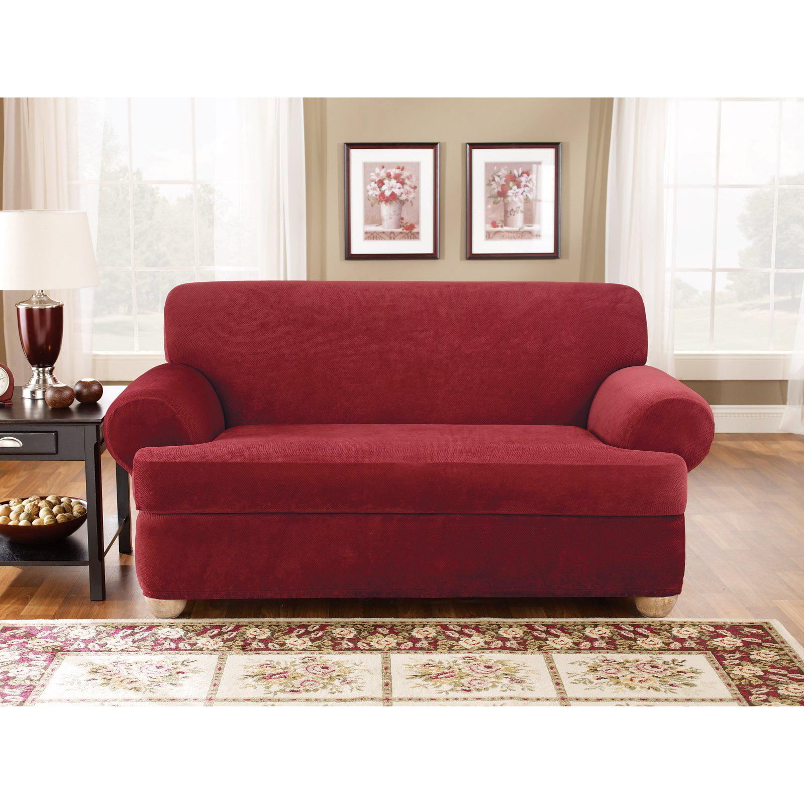 Sure Fit Stretch Pique T-Cushion Three Piece Sofa Slipcover