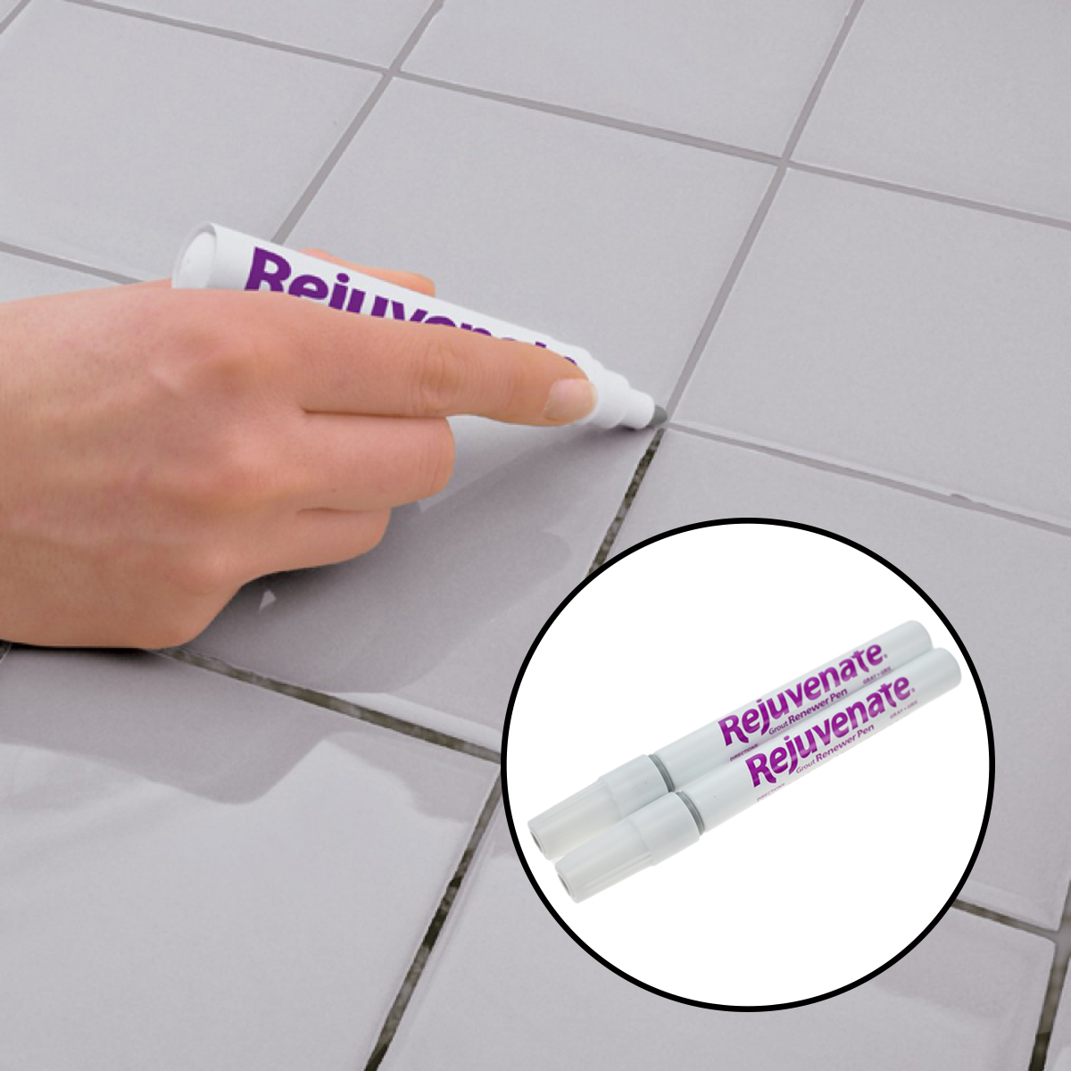 2 Rejuvenate Grout Renewer Pen Gray Clean Restore Kitchen Bathroom