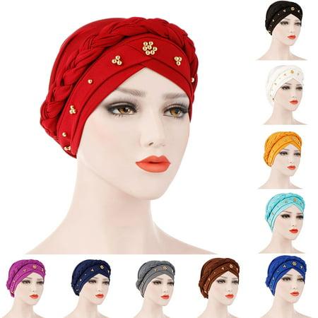 Classic Bead Cap (ZeAofaSolid Color Braid Beads Decor Women Muslim Hijab Turban Head Scarf Cap)