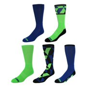 Just One  Fashion Geometric Patterns and Solid Athletic Crew Socks 5 Pair Value