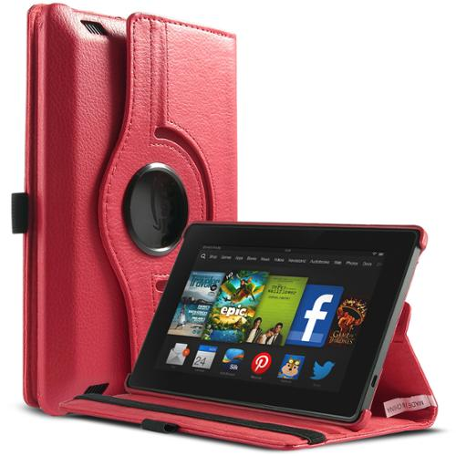 """ULAK PU Leather 360 Degree Rotating Stand Case Cover for New Kindle Fire HD 7.0"""" 2013 Release Gen with Smart Cover Wake/Sleep Feature (Red)"""