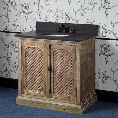 Infurniture marble top 36 inch single sink rustic style bathroom vanity for 36 inch rustic bathroom vanity
