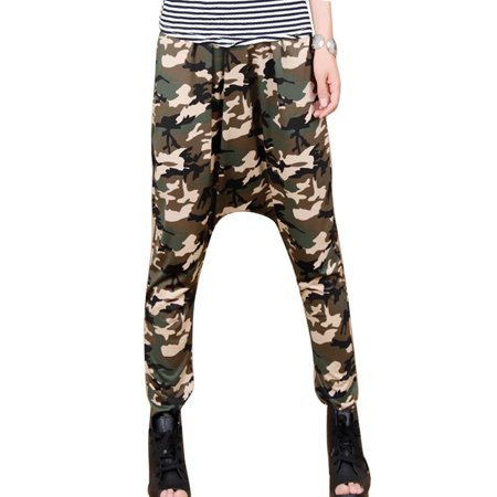 Womens Camouflage Pattern Elastic Waist Casual Harem Pants Army Green Xs