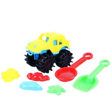 Mosunx 7Pcs Sand Kids Beach Toys Castle Bucket Spade Shovel Rake Water Tools For Kids