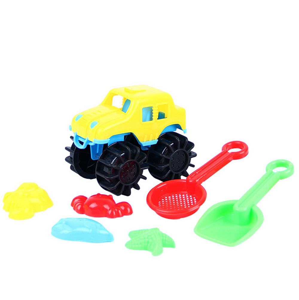 Mosunx 7Pcs Sand Kids Beach Toys Castle Bucket Spade Shovel Rake Water Tools For Kids