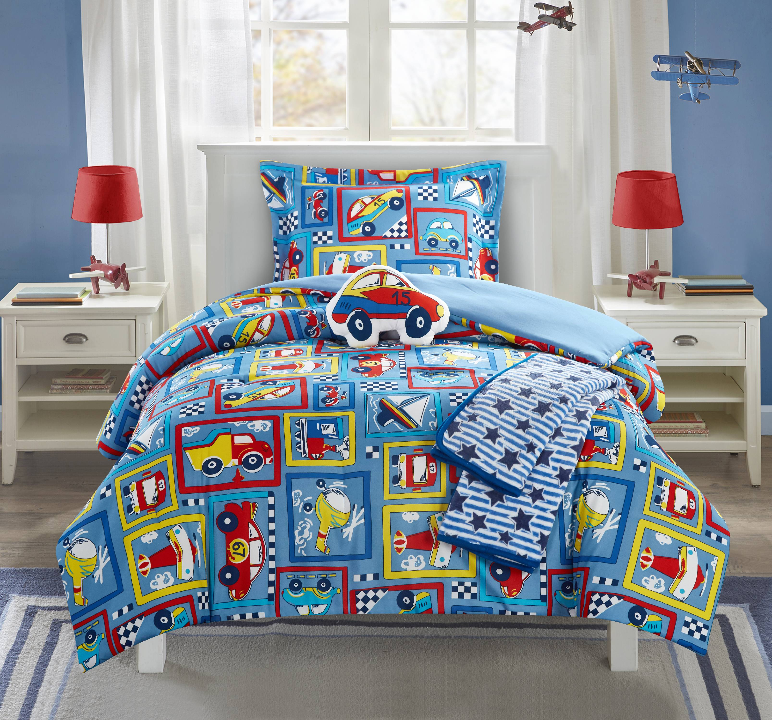 """Chic Home Indy 4 Piece Comforter Set """"High Speed"""" Cars Planes Boats Theme"""