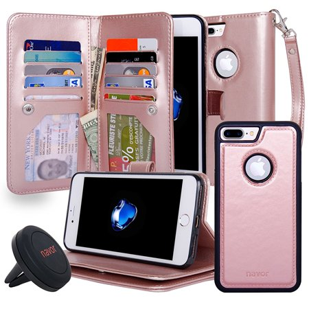 NAVOR Car Mount AND iPhone 7 Plus & 8 Plus Three Layers Wallet Case with [10 Card Slots] [2 Money Pockets] and Detachable Magnetic Housing- Rose Gold