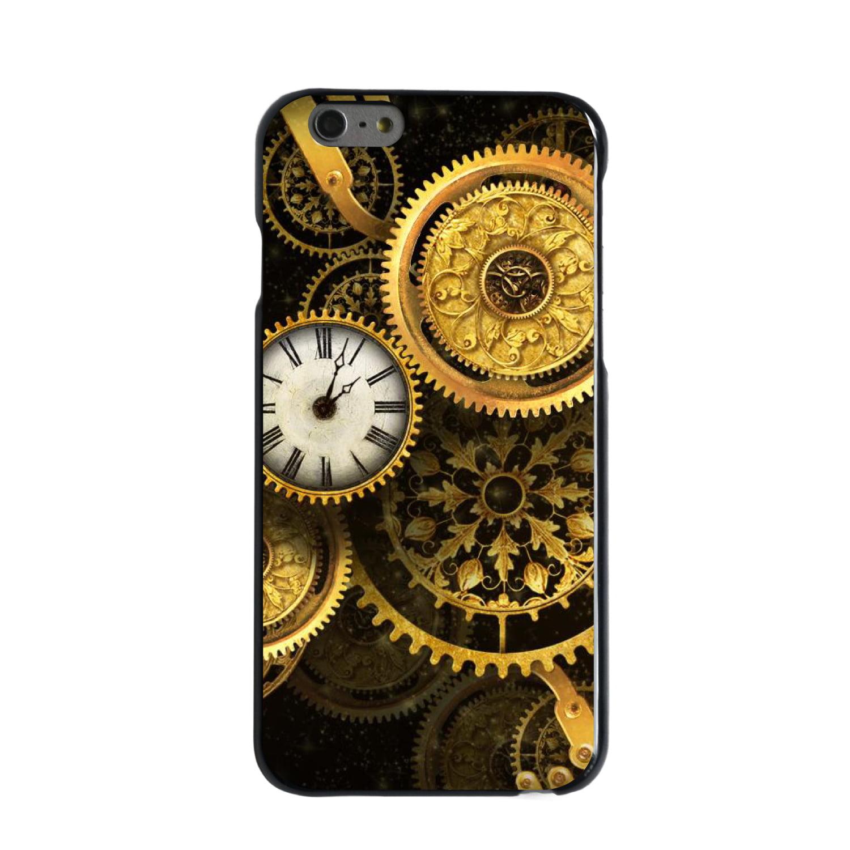 "CUSTOM Black Hard Plastic Snap-On Case for Apple iPhone 6 / 6S (4.7"" Screen) - Clocks Clockwork Gold"