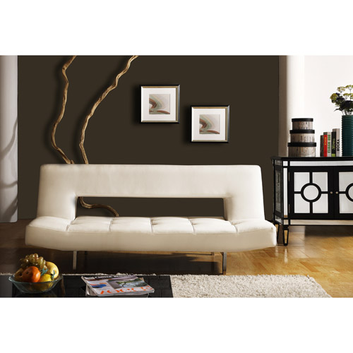 Open Back Sofa Bed Lounger, White