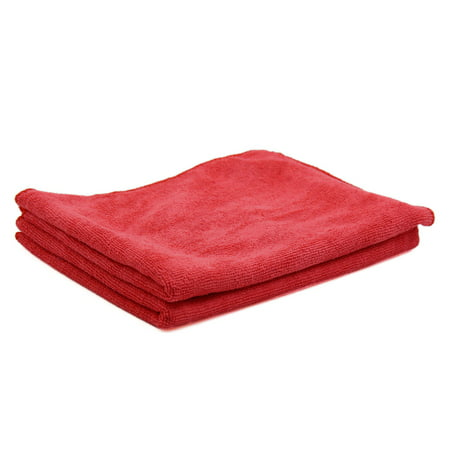2 Pcs Water Absorbent Microfiber Fabric Car Clean Cloth Towel Protective for Auto Door Glass Red