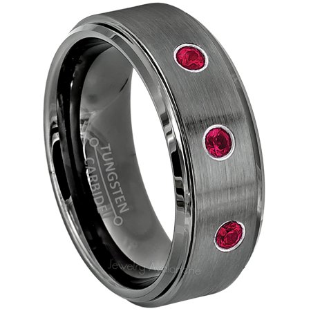 Personalized Wedding Rings (Brushed Gunmetal Tungsten Ring - 0.21ctw Ruby 3-stone Band - Personalized Tungsten Wedding Ring - Custom Made July Birthstone Ring)