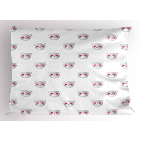 Emoji With Heart Eyes (Emoji Pillow Sham Cat Faces with Pink Heart Shaped Eyes Romantic Animal Kitty Mascot In Love, Decorative Standard Size Printed Pillowcase, 26 X 20 Inches, Pale Grey Pink White, by)