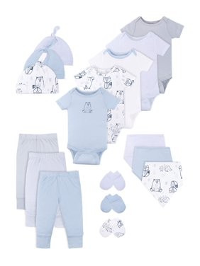 Little Star Organic Baby Boy Newborn Clothes Shower Gift Set, 17pc