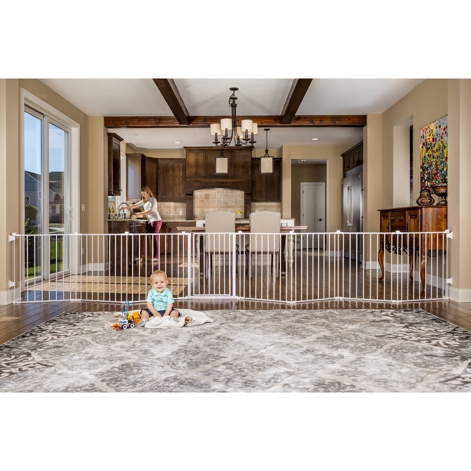 Regalo 192 Inch Super Wide Adjustable Baby Gate And Play Yard 4 In