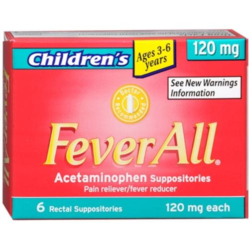 FeverAll Children's 120 mg Rectal Suppositories 6 Each (Pack of 2)