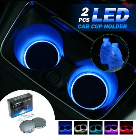 2 Pcs LED Car Cup Holder Mat Luminous Coasters USB Charging LED Car Cup Holder