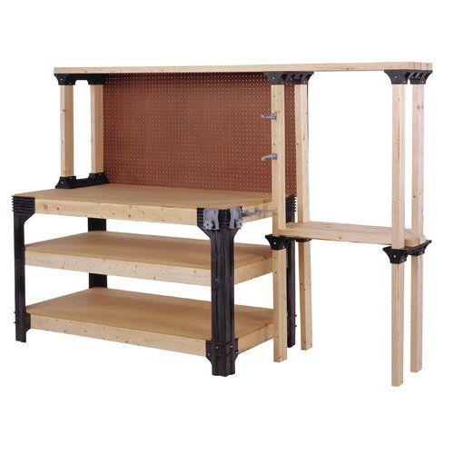 2x4 Basics Workbench and Shelving Storage System, Black