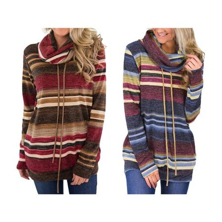 Women's Plus Size Stripes Casual Drawstring Tunic Long Sleeve Cowl Neck Sweatshirt -