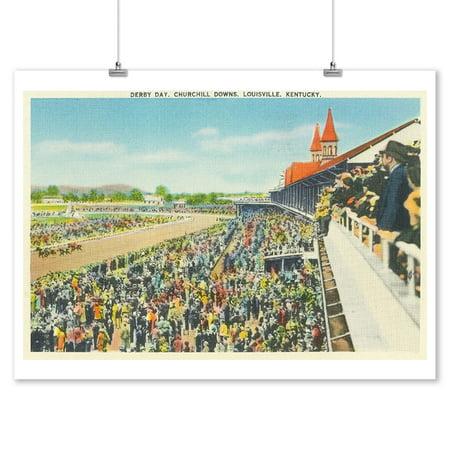 Louisville, Kentucky - Churchill Downs View on Derby Day (9x12 Art Print, Wall Decor Travel Poster) (Kentucky Derby Decor)