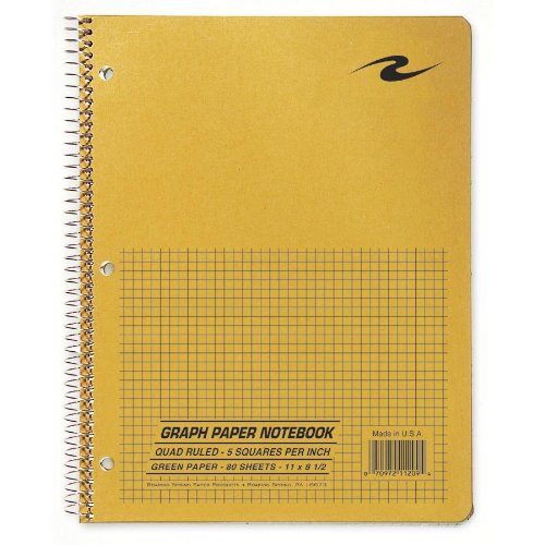 Graph Notebook, One Subject, 11 x 8.5 Inches, 80 Sheets, 5x5 Graph Ruled, Assorted Color Covers (11209), 45 Steno Products Law 74112 Premium.., By Roaring Spring