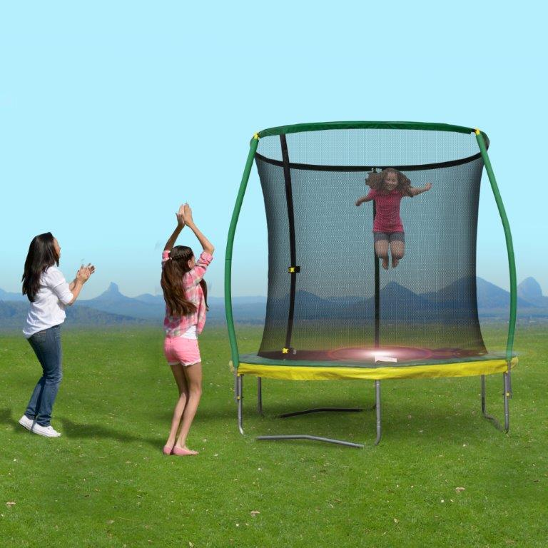 8 Ft Steelflex Trampoline with pro enclosure and mini flashlight zone